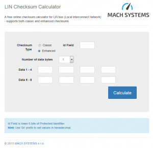 LIN Checksum Calculator printscreen