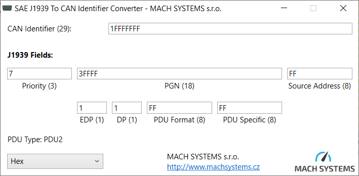 A free tool for SAE J1939 PGN to CAN Id Conversion - MACH